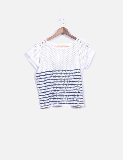 T-shirt à rayures bleus On Parle de Vous