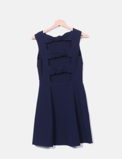 Vestido azul marino detalle lazos