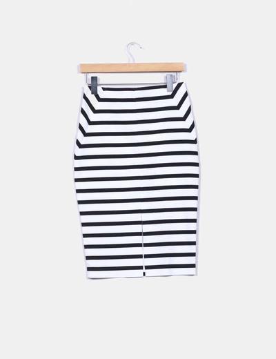 828f7280d Falda de tubo rayas horizontales blancas y negras