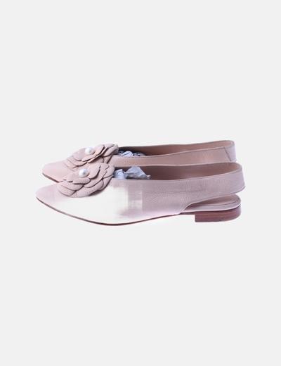 Zapatos rosas rosetón destalonado