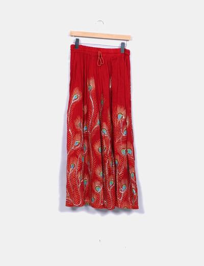Falda maxi roja detalles bordados NoName
