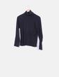 Top básico algodón negro cuello vuelto Zara