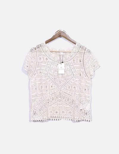 Camisa bege semitransparente Suiteblanco