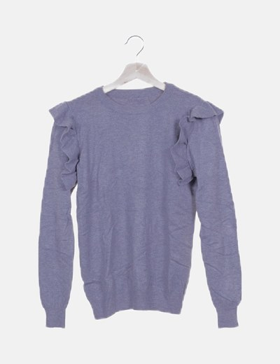 Jersey gris mangas con volantes