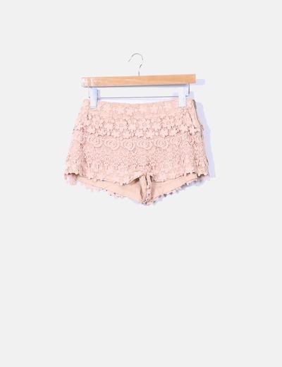 Shorts crochet nude Zara