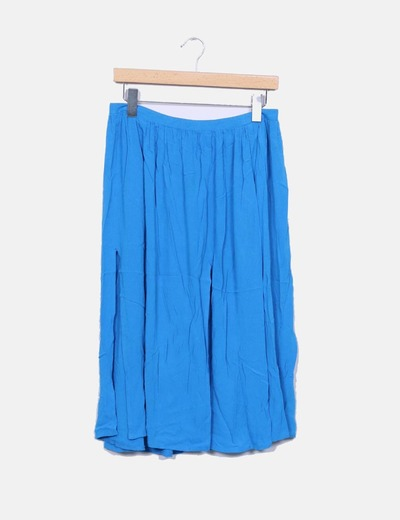 Falda midi azul abertura Topshop