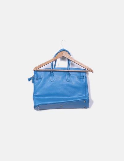 Bolso shopper azul detalle candado