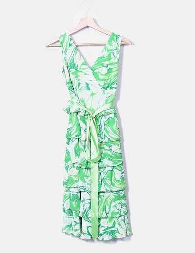 Vestido floral verde y blanco Jotaele