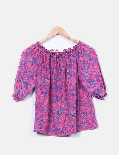 Blusa rosa estampada escote elastico