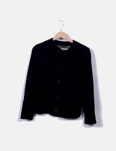 Chaqueta tricot negra con bolsillos y botones Emporio Armani