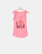 Camiseta rosa fluor estampada Lucky Girl