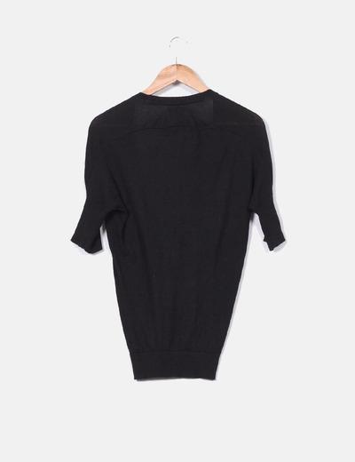 Cardigan tricot negro manga corta