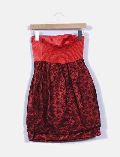 Vestido bicolor combinado de palabra de honor