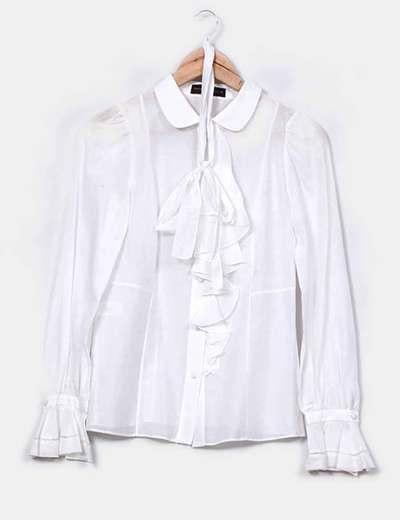 Camisa blanca con solapas baby y volantes Purificación García