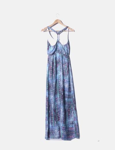 3e38d54bf4 Bershka Vestido maxi azul estampado (descuento 69%) - Micolet