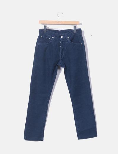 Calças de veludo azul de veludo Levi's
