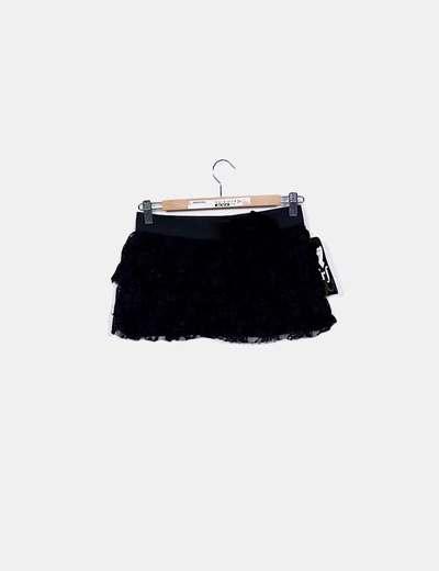 de410e5bb Minifalda negra crochet volantes