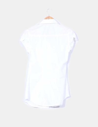 Camisa blanca manga corta drapeada