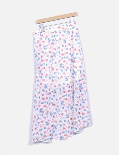 Falda midi floral asimetrica