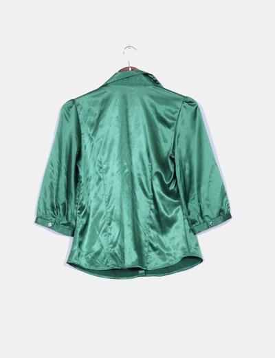 Camisa verde botella de raso