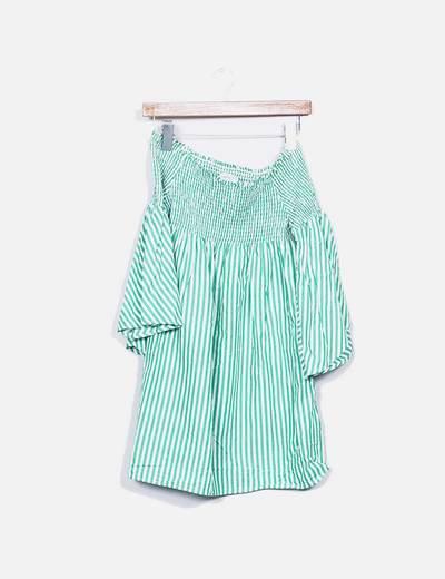 Vestido bardot rayas verdes Zara