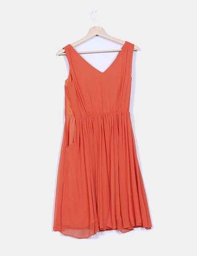 Vestido gasa drapeada naranja