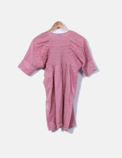 Blusa rosa detalles plisados