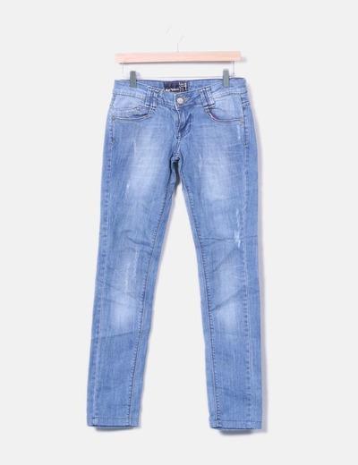 Pantalon en denim ajusté Bershka