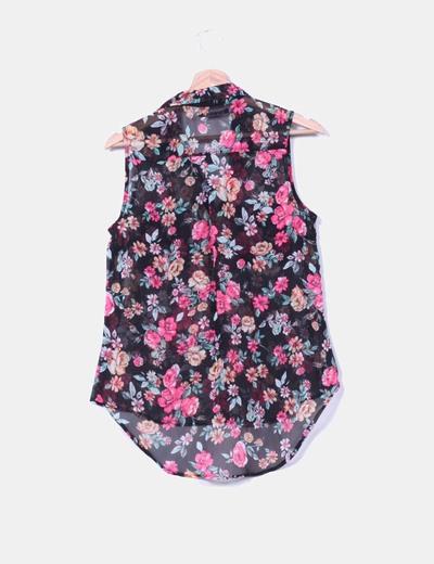 Blusa negra print floral
