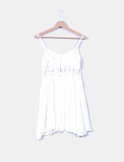 Vestido midi blanco con bordado