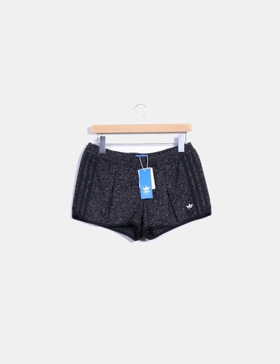 Shorts tweed negro jaspeado Adidas