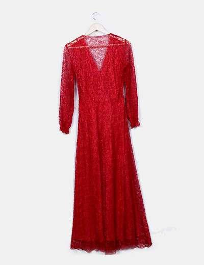 Vestido maxi rojo con encaje