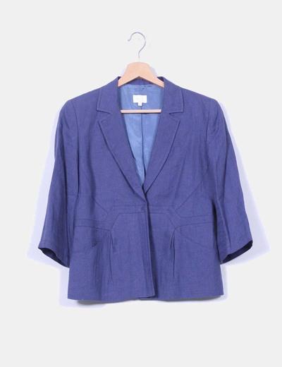 Blazer azul de lino She