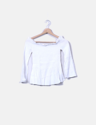 Blusa blanca mangas acampanadas Bershka