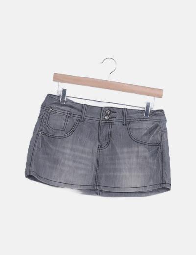 Mini falda denim gris