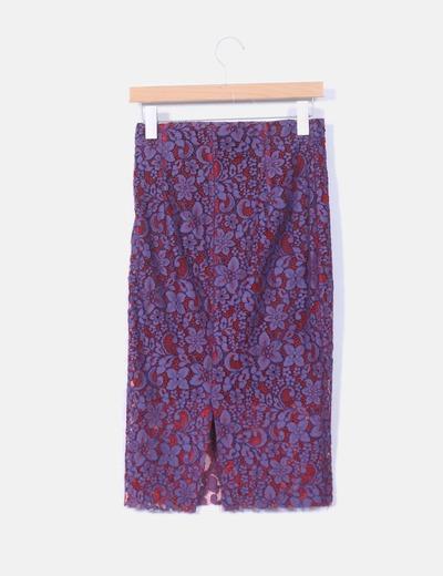 8f1bc10889 Zara Falda tubo crochet morada encaje rojo (descuento 61%) - Micolet