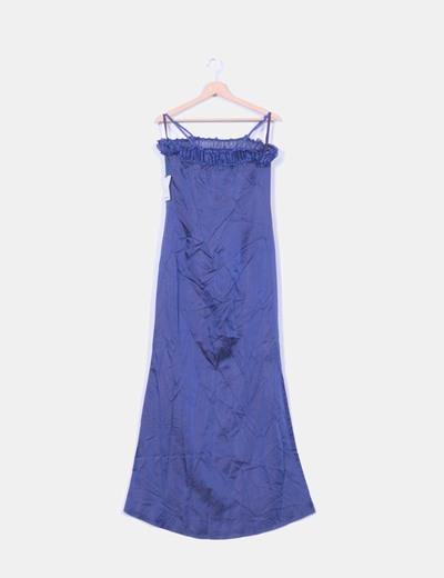 Robe bleu marine maxi en satin avec décolleté drapé CeDosCE