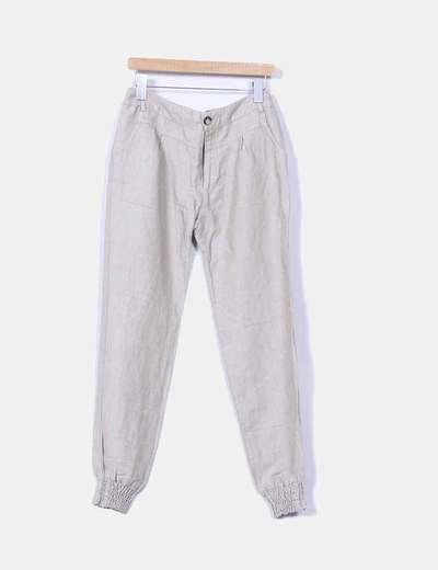 Pantalón baggy de lino beige Bershka