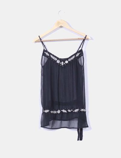 Blusa negra de tirantes transparente con strass NoName