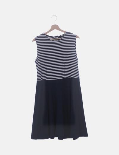 Vestido combinado azul marino y rayas
