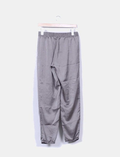 Pantalon baggy kaki satinado