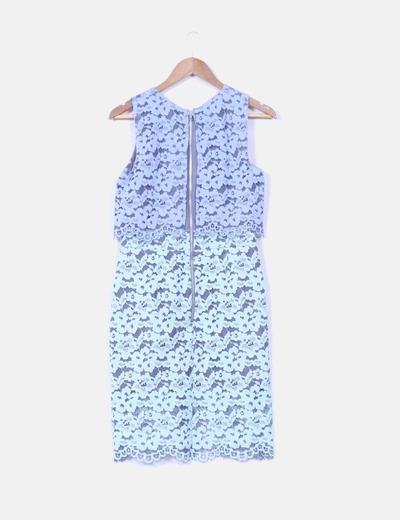 Vestido combinado en tejido calado