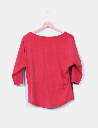 Camiseta roja oversize print