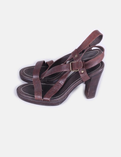 Sandales plate marron -forme Tex Woman