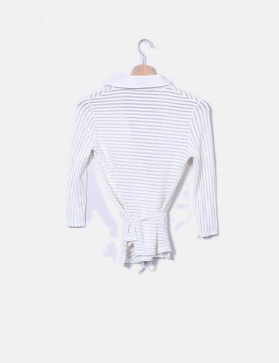 Camisa cruda de rayas cruzada