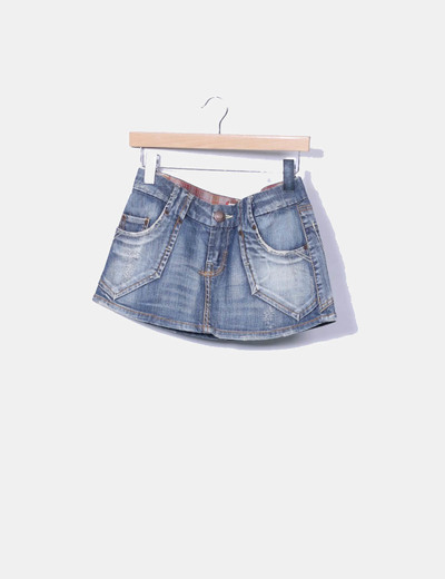 Mini-jupe denim Suiteblanco