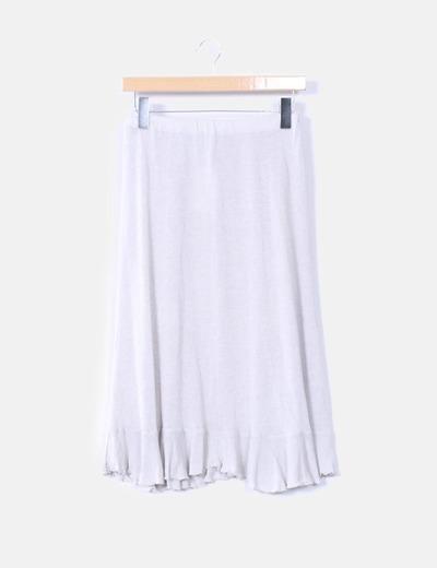 Falda lapiz tricot con volantes color gris Maria Grandes