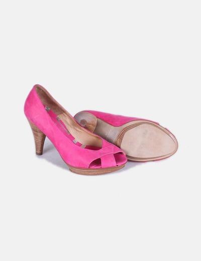 Zapato fucsia peep toe