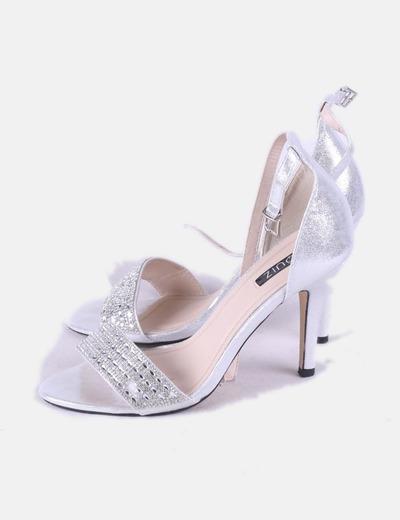 Sandalias strass plata