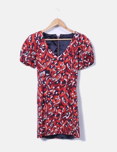 Vestido rojo estampado con hombreras French Connection